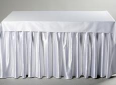 Baltas banketinis stalo sijonas W5