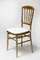 Balta pagalvėlė kėdei aukso spalvos
